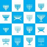 Modèle d'icônes de Menorah Photos stock