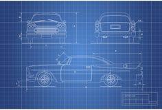 Modèle d'ingénierie de rétro voiture Cabriolet de vintage Avant, côté et vue arrière Retrait industriel illustration de vecteur