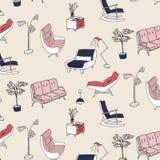 modèle d'intérieur de meubles du style 60s Décoration mignonne de marine de rose en pastel Rétro sofa, fauteuil, nightstand et fu Photo stock