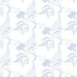 Modèle d'ornement de vintage avec les fleurs bleues illustration stock