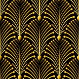 Modèle d'or sans couture d'Art Deco avec les coquilles abstraites Contexte de mode de vecteur dans le style de vintage Illustration de Vecteur