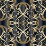 Modèle 3d sans couture baroque de vecteur de vintage Ornamental rayé b illustration de vecteur