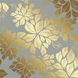 Modèle d'or sans couture de feuilles sur le fond gris Photos stock