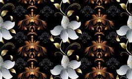 Modèle 3d sans couture floral de vintage Fond de damassé de vecteur wal Photo stock