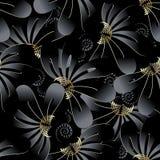 Modèle 3d sans couture floral fleuri de noir foncé illustration de vecteur