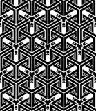 Modèle 3d sans couture géométrique abstrait trompeur noir et blanc illustration de vecteur
