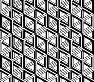 Modèle 3d sans couture géométrique abstrait trompeur noir et blanc Photographie stock