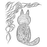 Modèle d'un chat Page pour livre de coloriage Photos stock