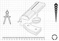 modèle 3d d'un pistolet Photos libres de droits