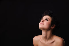 Modèle d'une chevelure foncé de lingerie Photographie stock libre de droits