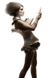 Modèle dans la robe et le cheveu d'expression Photographie stock