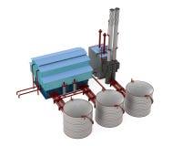 Modèle de bâtiment d'usine avec le réservoir de stockage d'huile Photo libre de droits