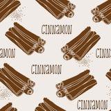 Modèle de bâtons de cannelle illustration stock