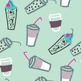 Modèle de beaucoup verre de juse, de coffe, de pièce en t et d'autres boissons Fond lumineux de griffonnage illustration de vecteur