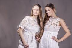 Modèle de belles amies de femmes dans des robes molles avec le long ha Photos libres de droits