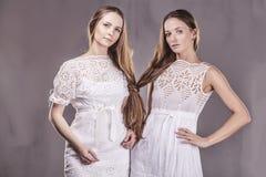 Modèle de belles amies de femmes dans des robes molles avec le long ha Images libres de droits