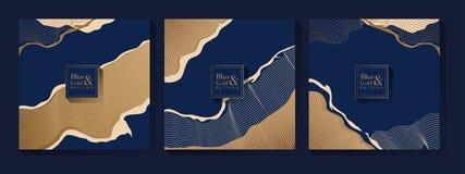 Modèle de bleu et d'or illustration stock