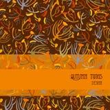 Modèle de brindilles Fond brun orange avec la conception de bande Endroit des textes Photographie stock