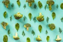 Modèle de brocoli, épinards, fenouil, végétarien, concept sain de consommation Images libres de droits