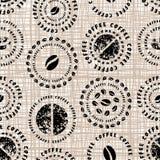 Modèle de café sur la texture de toile Image libre de droits
