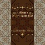 Modèle de carte d'invitation avec l'ornement islamique du Maroc Photos libres de droits