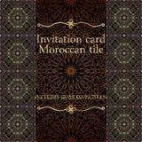 Modèle de carte d'invitation avec l'ornement islamique du Maroc Photos stock