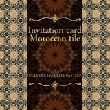 Modèle de carte d'invitation avec l'ornement islamique du Maroc Photo libre de droits