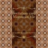 Modèle de carte d'invitation avec l'ornement islamique du Maroc Photographie stock libre de droits