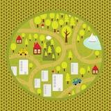 Modèle de carte de bande dessinée de petite ville et de campagne. Photos stock