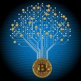 Modèle de carte sous forme d'arbre dans Bitcoin d'or illustration de vecteur