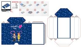 Modèle de cercueil de boîte bleue pour découper pour les vacances de l'amour illustration libre de droits