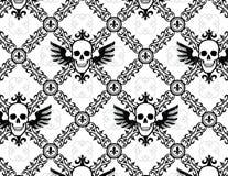 Modèle à motifs de losanges d'aile de crâne avec Fleur de Lys Photographie stock libre de droits