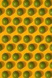 Modèle de chaux sur le fond jaune Concept minimal de configuration d'appartement Images stock
