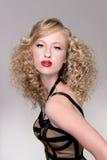Modèle de cheveu de mode de salon Photographie stock