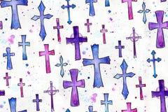 Modèle de Christian Cross Watercolor Seamless Repeating illustration libre de droits
