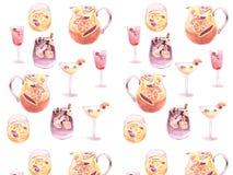 Modèle de cocktail d'aquarelle avec des fruits et des baies illustration libre de droits