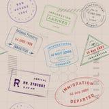 Modèle de collection de timbre de voyage illustration de vecteur