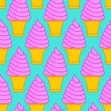 Modèle de cornet de crème glacée de fraise Grand dos doux de cône de vanille illustration stock