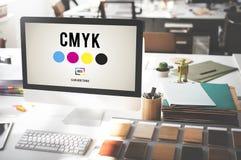 Modèle de couleur d'encre de tirage en couleurs de CMYK Concept Images stock