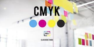 Modèle de couleur d'encre de tirage en couleurs de CMYK Concept Images libres de droits