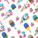 Modèle de crème glacée avec la framboise Photo stock