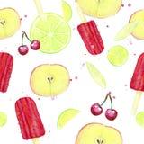 Modèle de crème glacée de fruit et d'aquarelle Image stock