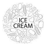 Modèle de crème glacée de vecteur avec le mot Image de la crême glacée Background Illustration Libre de Droits