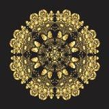 Modèle de dentelle d'or sur un fond noir Photo libre de droits
