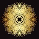 Modèle de dentelle d'or sur un fond noir Image stock