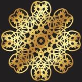 Modèle de dentelle d'or sur un fond noir Photo stock