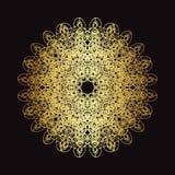 Modèle de dentelle d'or sur un fond noir Photographie stock libre de droits