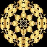 Modèle de dentelle d'or sur un fond noir Photographie stock