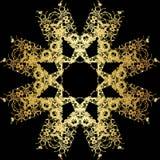 Modèle de dentelle d'or sur un fond noir Photos libres de droits