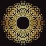 Modèle de dentelle d'or sur un fond noir Images stock